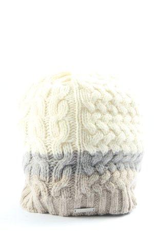 Giesswein Bonnet en crochet crème-gris clair gradient de couleur