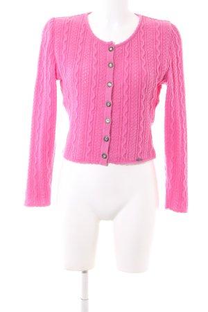 Giesswein Strickjacke pink Zopfmuster Casual-Look