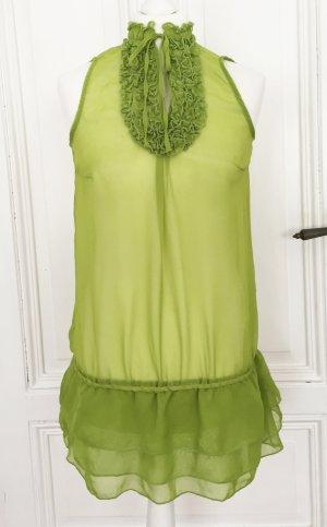 Giftgrünes transparentes Blusentop mit Rüschen, Volants, Stehkragen und Schleife NEU von Zara