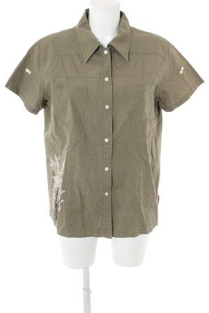Giga Dx Kurzarm-Bluse khaki Motivdruck Casual-Look