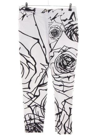 Gil Bret 7/8-Hose weiß-schwarz abstraktes Muster Casual-Look