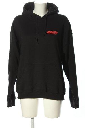 Gildan Jersey con capucha negro-rojo letras impresas look casual