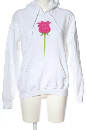Gildan Kapuzensweatshirt weiß-pink Motivdruck Casual-Look