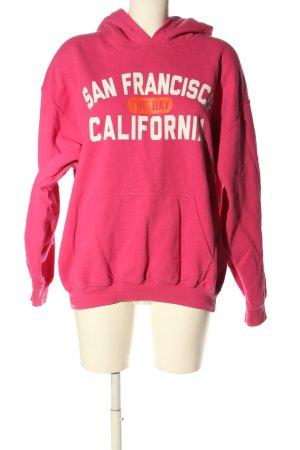 Gildan Kapuzensweatshirt pink-weiß Schriftzug gedruckt Casual-Look