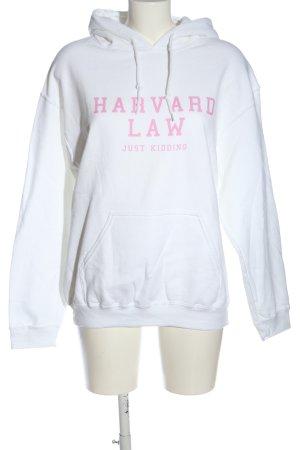 Gildan Kapuzensweatshirt weiß-pink Schriftzug gedruckt Casual-Look