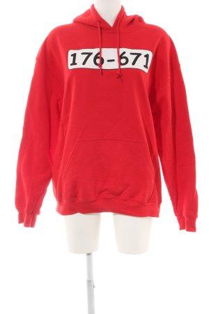 Gildan Kapuzensweatshirt rot Schriftzug gedruckt Casual-Look