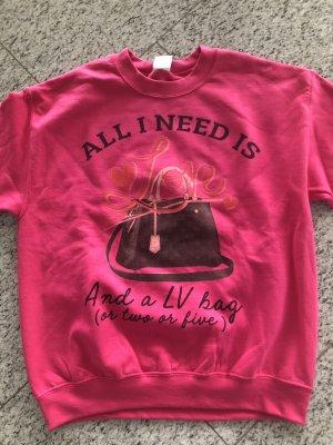 GILDAN  neu Sweatshirt in Pink mit Louis Vuitton Taschen Aufdruck