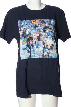 Gildan Print-Shirt blau-pink Motivdruck Casual-Look
