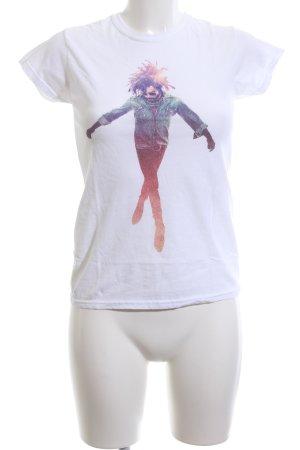 Gildan Print-Shirt weiß Motivdruck Casual-Look