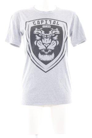 Gildan Print-Shirt hellgrau-schwarz meliert Casual-Look