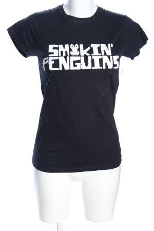 Gildan Print-Shirt schwarz Schriftzug gedruckt Casual-Look