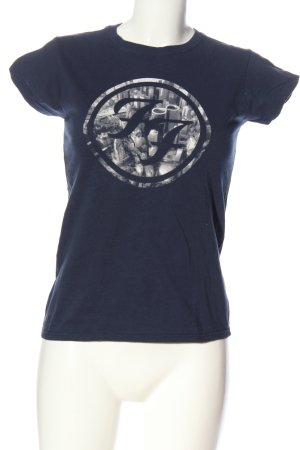 Gildan Camicia fantasia blu-bianco Stampa a tema stile casual