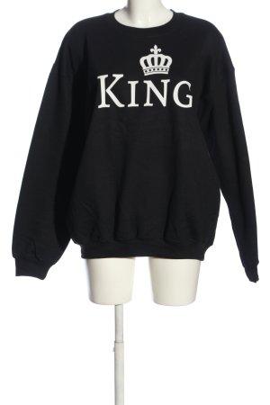 Gildan Sweatshirt schwarz-weiß Motivdruck Casual-Look