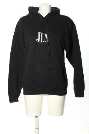 Gildan Sweat Shirt black themed print casual look