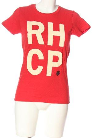 Gildan T-shirt rosso-crema caratteri stampati stile casual