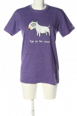 Gildan T-Shirt lila-weiß Motivdruck sportlicher Stil
