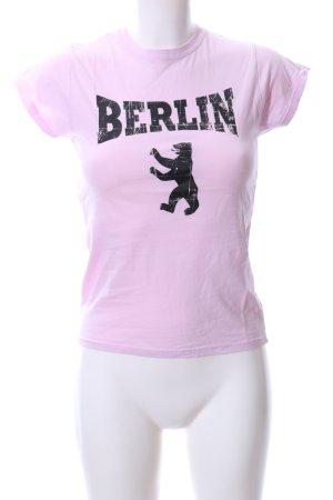 Gildan T-Shirt pink-schwarz Motivdruck Casual-Look