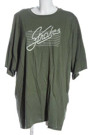 Gildan T-Shirt khaki-white printed lettering casual look