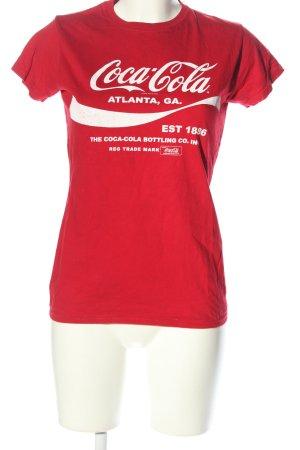 Gildan T-Shirt rot-weiß Schriftzug gedruckt Casual-Look