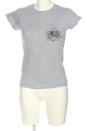 Gildan T-Shirt hellgrau-schwarz meliert Casual-Look