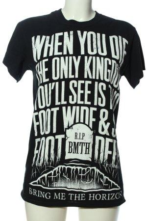 Gildan T-Shirt weiß-schwarz Schriftzug gedruckt Casual-Look
