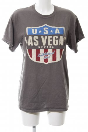 Gildan T-Shirt hellgrau Motivdruck sportlicher Stil