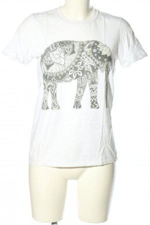 Gildan T-Shirt white-light grey themed print casual look