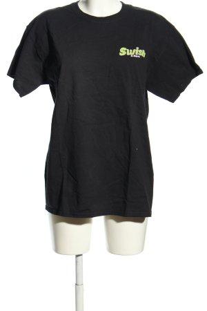 Gildan T-Shirt black-green printed lettering casual look
