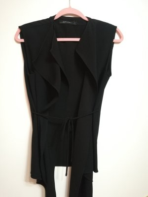 Zara Woman Chaleco de motorista negro