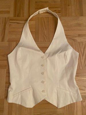 H&M Top z dekoltem typu halter biały