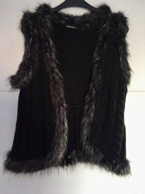 Jessica Fake Fur Vest black-silver-colored