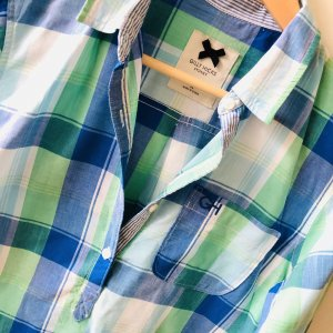 Gilly Hicks Bluse gr  XS Hemd blau weiß grün kariert