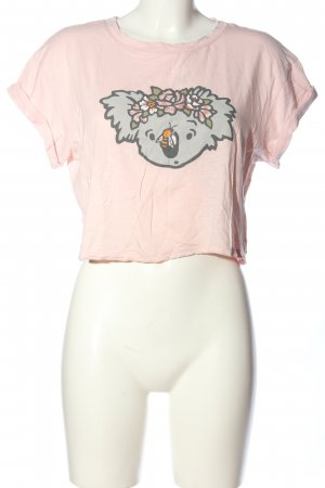 Gilly Hicks Cropped Top pink-hellgrau Motivdruck Casual-Look