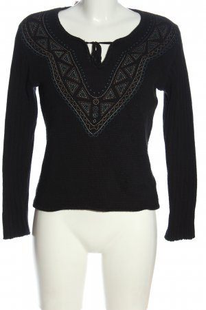 Gin Tonic Grobstrickpullover schwarz grafisches Muster Casual-Look