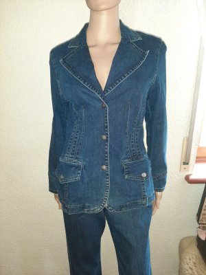 Gina B Blazer in jeans blu acciaio Cotone