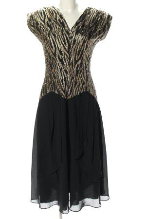 Gina Bacconi Abendkleid schwarz-goldfarben abstraktes Muster extravaganter Stil