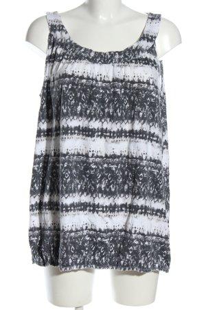 Gina Benotti ärmellose Bluse weiß-schwarz grafisches Muster Casual-Look