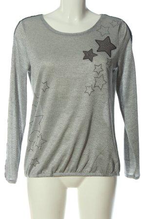 Gina Benotti Fine Knit Jumper light grey themed print casual look