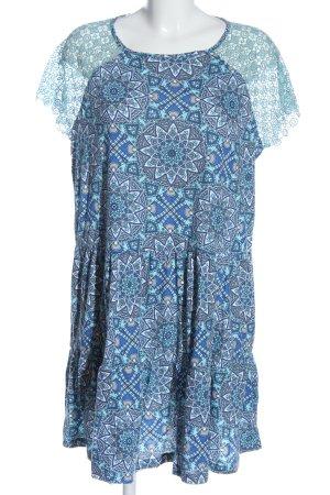 Gina Benotti Kurzarmkleid blau Allover-Druck Casual-Look