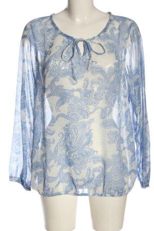 Gina Benotti Langarm-Bluse creme-blau Allover-Druck Casual-Look