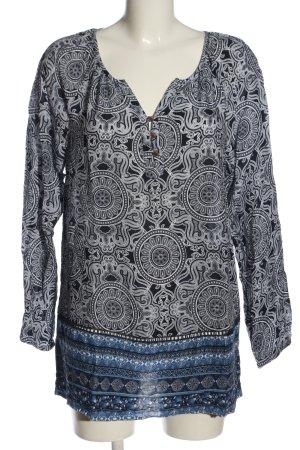 Gina Benotti Langarm-Bluse blau-weiß Allover-Druck Casual-Look