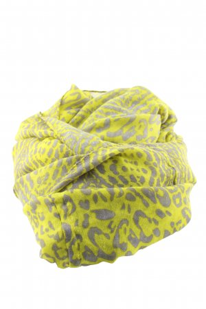 Gina Benotti Écharpe ronde jaune primevère-gris clair motif léopard