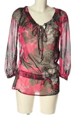 Gina Benotti Schlupf-Bluse schwarz-pink Allover-Druck klassischer Stil