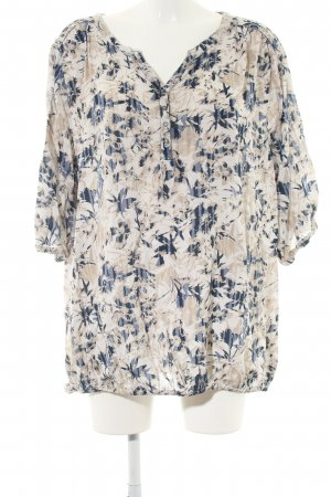 Gina Benotti Slip-over blouse wolwit-blauw volledige print casual uitstraling