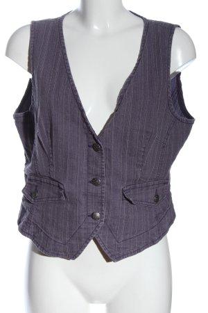 Gina Benotti Gilet en jean violet-blanc motif rayé style décontracté