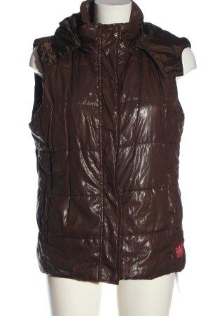 Gina Benotti Pikowana kamizelka brązowy-czerwony Pikowany wzór W stylu casual