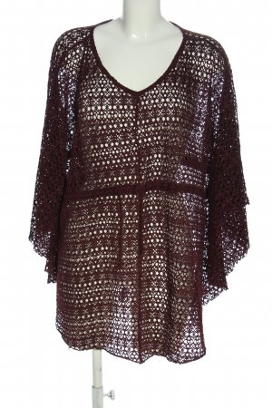 Gina Benotti Knitted Poncho brown weave pattern casual look