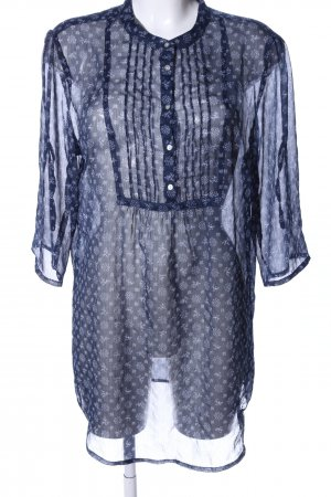 Gina Benotti Transparenz-Bluse blau-weiß abstraktes Muster Casual-Look
