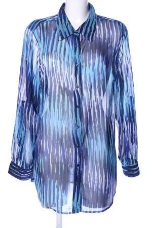 Gina Benotti Transparenz-Bluse blau abstraktes Muster Business-Look