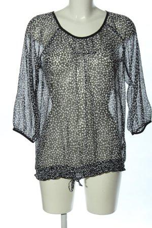 Gina Benotti Transparenz-Bluse schwarz-weiß Allover-Druck Casual-Look